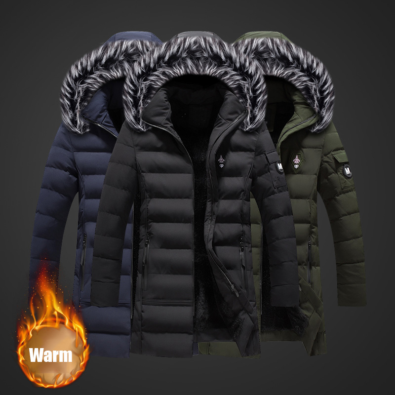 2018 Fashion Winter Jacket Men High Quality Fur Collar Thick Warm Parka Men Long Coat Windproof Trench Velvet Casual Outwear Top Numerous In Variety Jackets & Coats Down Jackets