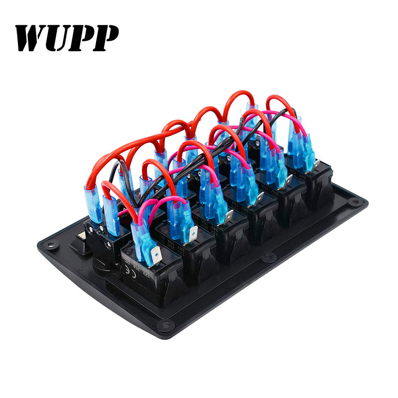 Image 3 - WUPP 6 Gang Boat Rocker Switch Panel  Auto/Marine/Yacht AC/DC LED Light Waterproof  Circuit Breakers Switch Panel-in Car Switches & Relays from Automobiles & Motorcycles