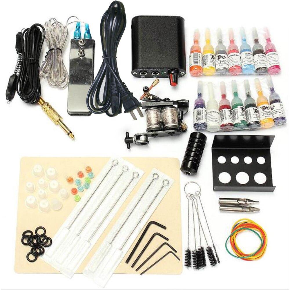 Kit de Machine à tatouer professionnel fournitures de tatouage ensemble de tatouage complet avec 14 bouteilles d'encre pour doublure de tatouage et ombrage US Plug