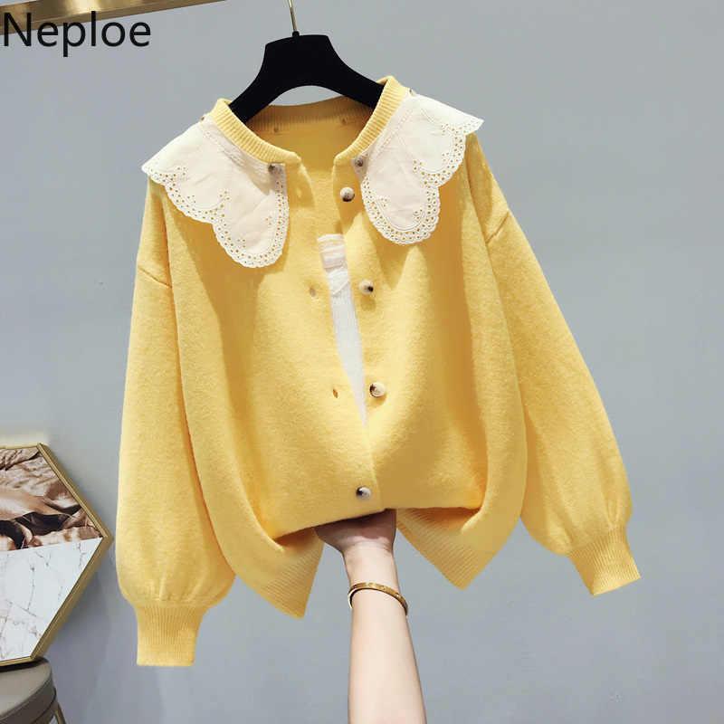 Neploe 한국어 스위트 스웨터 랜턴 니트 카디건 레이스 패치 워크 귀여운 니트웨어 2020 가을 겨울 의류 루즈 탑스