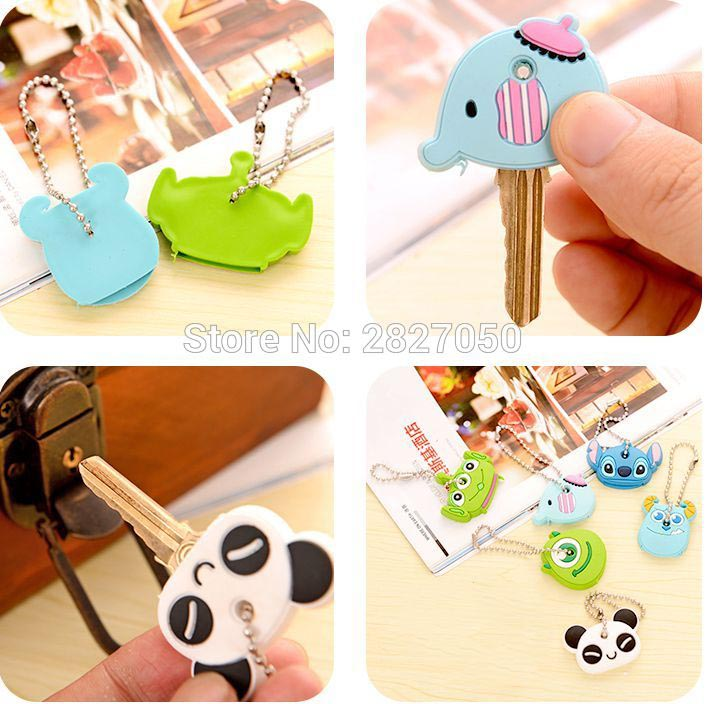 Novelty Kawaii Cute Cartoon Animal Silicone Car Key Caps Covers Holder Keychain Case Shell Keyring Sets Toy Action