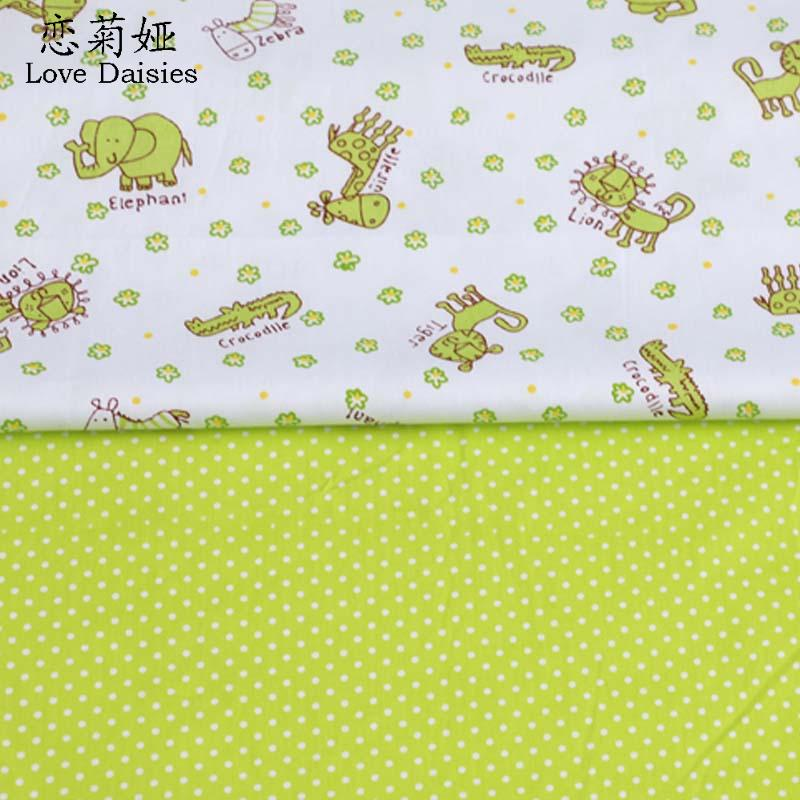 100% cotton twill cloth CARTOON animals small flowers green dots DIY for kids bedding cushions handwork quliting fabric textile