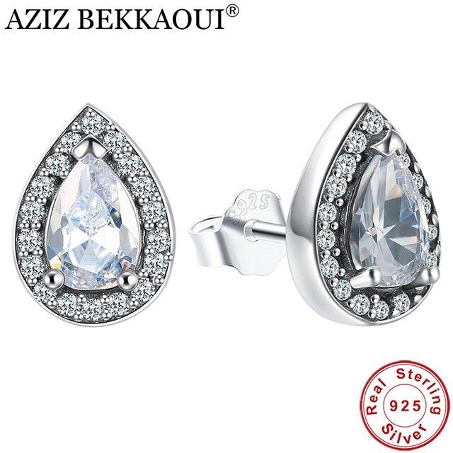 AZIZ BEKKAOUI Authentic 100% 925 Sterling Silver Bạc Rạng Rỡ Teardrop Rõ Ràng CZ Stud Earrings đối với Phụ Nữ Sterling Bạc Trang Sức Quà Tặng