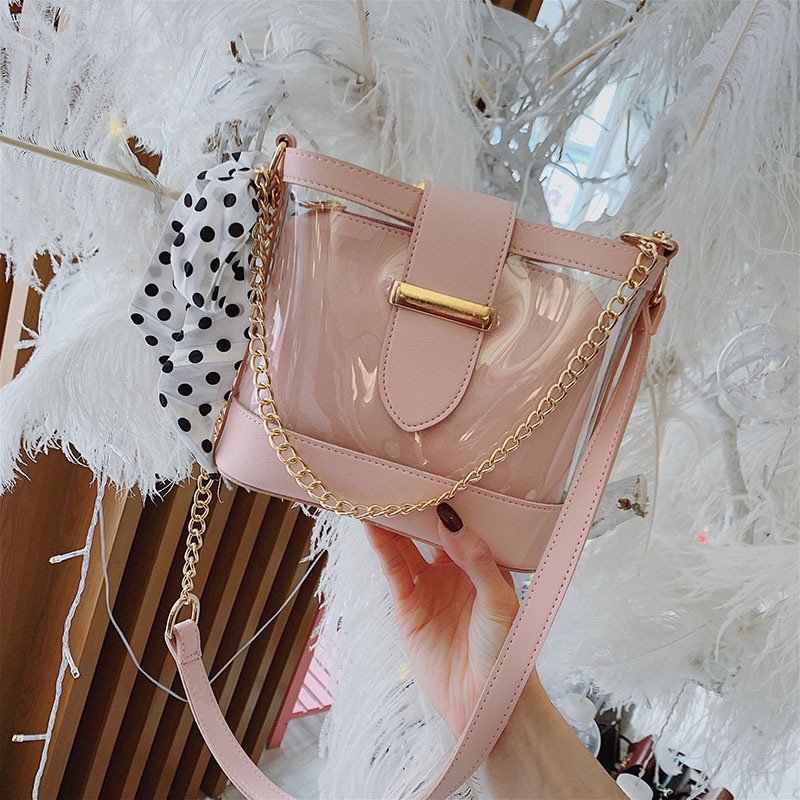 Women Real Transparent Bag 2019 Womens Summer New Chain Jelly Portable Shoulder Diagonal Packet Brand Originality DesignWomen Real Transparent Bag 2019 Womens Summer New Chain Jelly Portable Shoulder Diagonal Packet Brand Originality Design