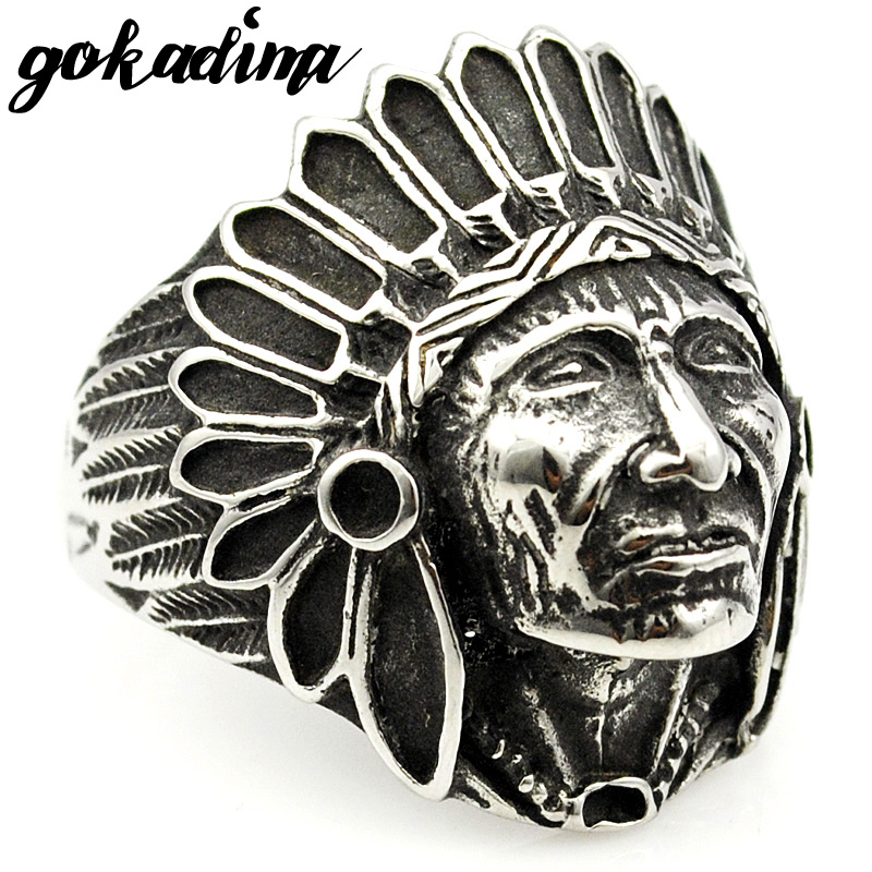 GOKADIMA Fashion Biker Stainless Steel Ring Men Tribe Apache Indian Chief Head Ring Size 7-13 Punk Rocker Figure Jewelry WR307 ...