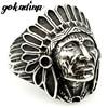 GOKADIMA Fashion Biker Stainless Steel Ring Men Tribe Apache Indian Chief Head Ring Size 7-13 Punk Rocker Figure Jewelry WR307