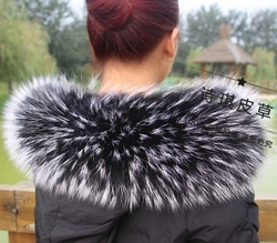 Colorful Genuine Raccoon Fur Detachable Collar Scarfs Fashion Coat Sweater Detachable  Luxury Fur Collar TKC003-BW