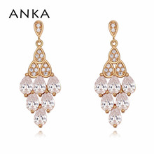 ANKA top zirconia luxury bohemia women drop earrings love rose gold color charm geometric earings fashion Jewelry gift 122443 anka brand romantic flower earrings luxury wave women drop earrings rose gold color charm top zirconia fashion jewelry 26081