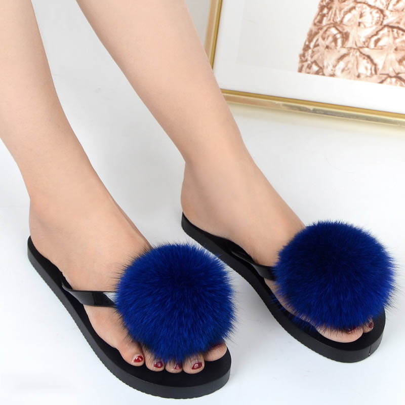women slippers fox fur pompom (23)
