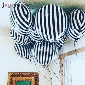 10pcs 18inch Fashion Black White Stripe Checkerboard Foil Balloon Helium Air Ball Wedding Birthday Party Baby Shower Globos