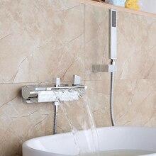 Роскошный смеситель для ванной комнаты, хромированный смеситель для ванной в форме водопада, смеситель с ручной насадкой для душа, набор для душа, настенное крепление