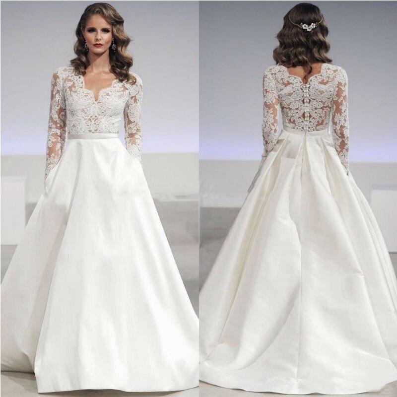 Satin Skirt Wedding Dress 2017 V Neck Top Lace Long Sleeves Bride
