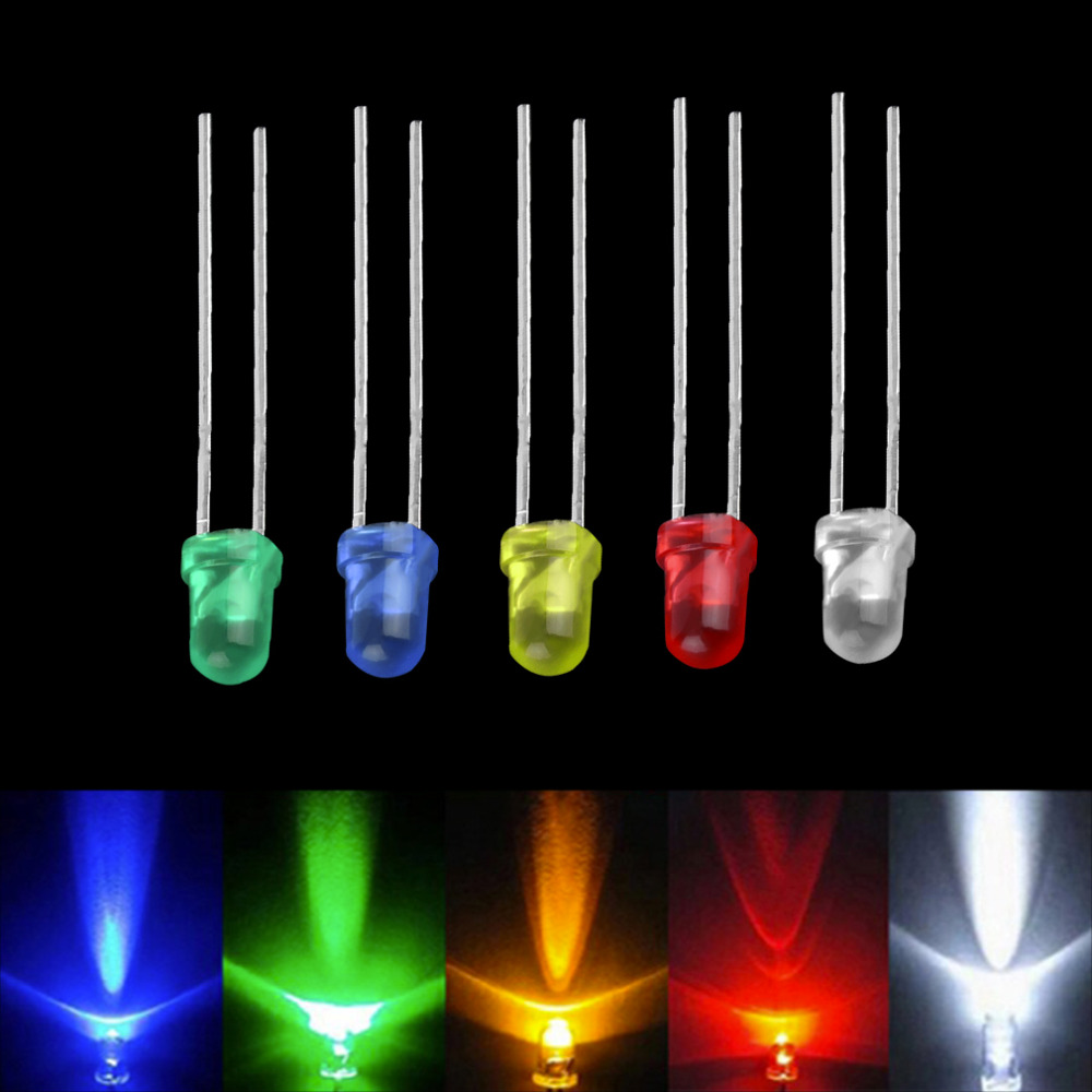100pcs/set High Performance Five Color LED Light Bulb High Power 2pin Emitting Diode Lamps Super Bright 3MM Assorted Kit Sale