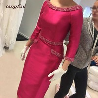 Satin Sheath Mother of Bride Dress 2019 Tea Length Scoop Three Quarter Sleeves Beading Pearls Woman Formal Wedding Party Gown