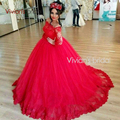 Gorgeous Red Wedding Dresses Long Sleeve Lace Ball Gown Bride Dress Romantic Sheer Boat Neck Tulle Bridal Gowns