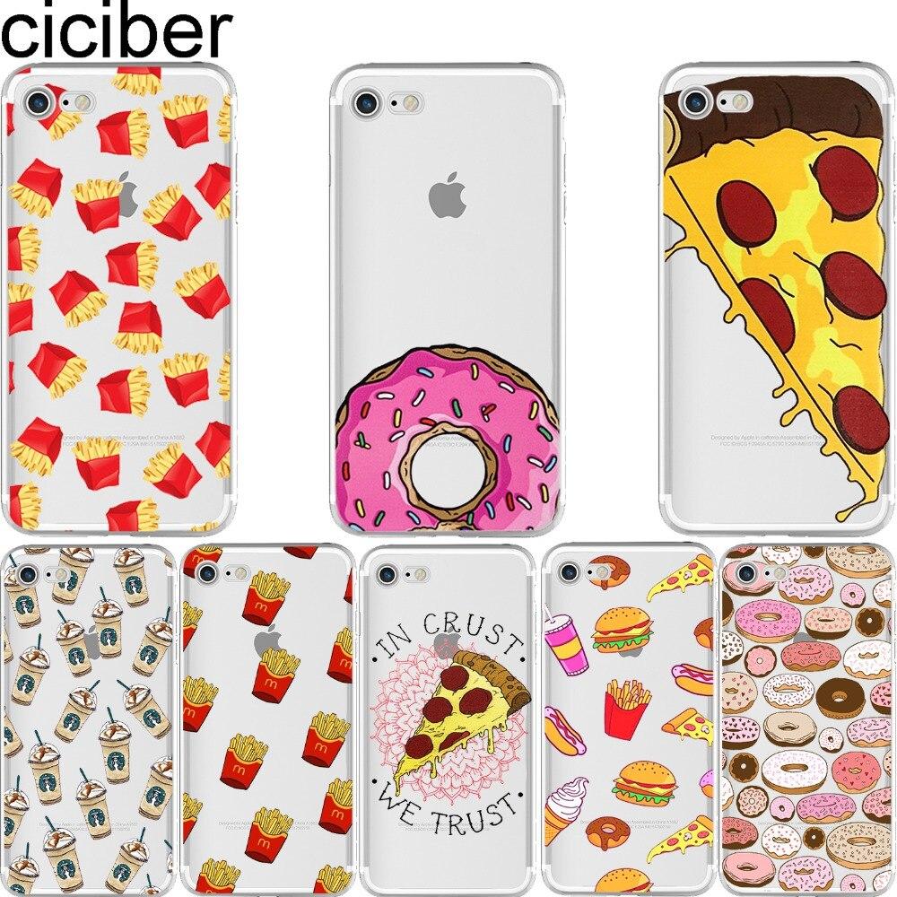 Ciciber телефон случаях фри пончики пиццы Еда узор Дизайн Мягкий силиконовый чехол для iPhone 6/6 S 7 8 плюс 5 5S SE x capinha