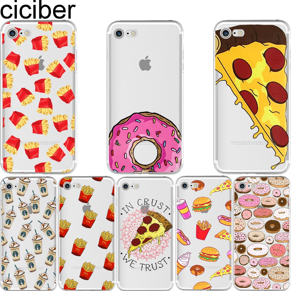 Ciciber phone cases fries donuts pizza food pattern design for Design case