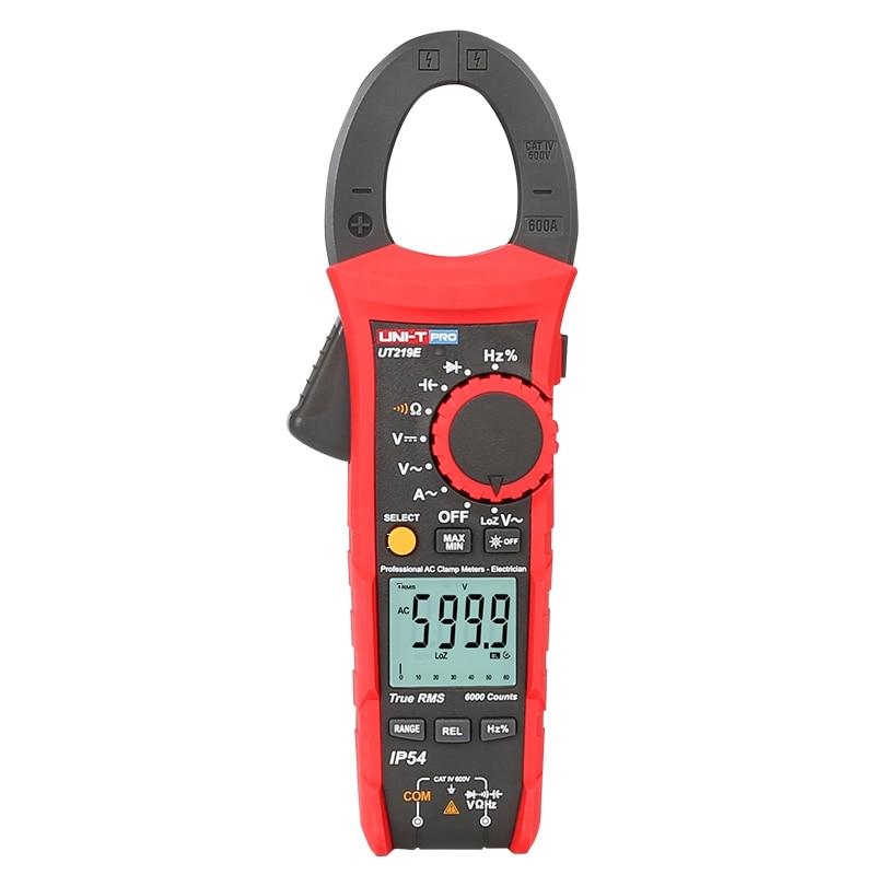 UNI T UT219E True RMS Clamp Meter Digital Multimeter Analog 6000 Count AC DC Voltage Ohm Freq meter LoZ Capacitor test IP54 CE