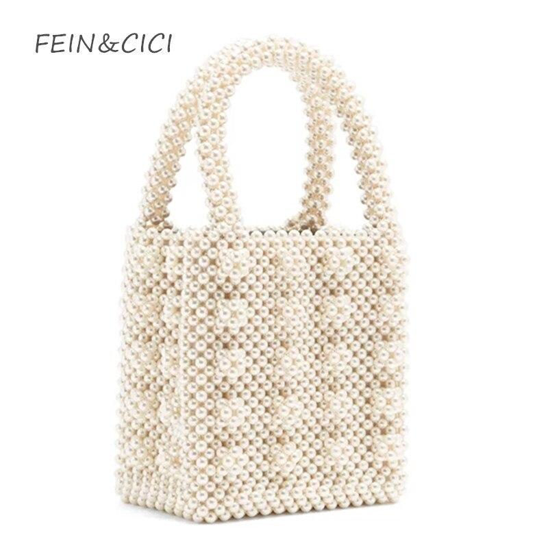 Bolso perlas rebordear totes caja bolsa de mujeres bolso elegante 2018 Verano de lujo marca blanco amarillo azul al por mayor envío de la gota