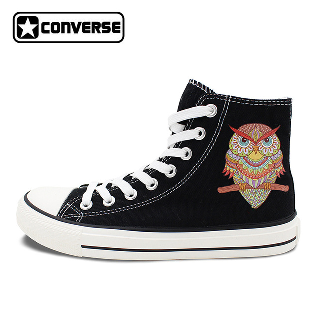 Unique Sneakers Design Ornamental Owl Ethnic Style Converse Chuck Taylor  High Top Black Canvas Shoes Men