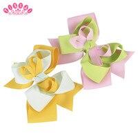 10PC TINSAI 5 Hair Bows Grosgrain Ribbon Hairclip Handmade Barrette Baby Girl Hair Accessories Top Bandeau