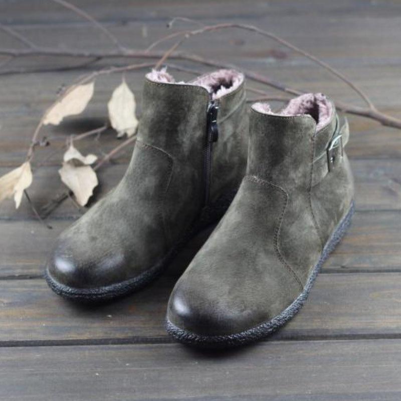 Women s Winter Boots Plush Ladies Snow Boots 100 Genuine leather Botines Vintage Chelsea Woman Shoes