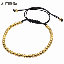 Brading Macrame Men girl Bracelets Gold 4MM Round Beads Wrap Bead Bracelets Women Mens rope bracelet Jewelry pulsera hombres
