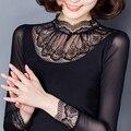 2016 nuevas Mujeres de la gasa superior más cordón del tamaño camisa básica de primavera y verano del todo-fósforo negro de cuello alto manga larga de gasa delgada blusa