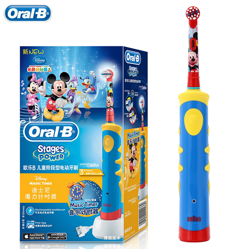 Oral B Children Braun Electric Toothbrush D10 Music Timer Rechargeable Sonic Tooth Brush Mickey Mouse for Kids Ages 3+ ckeyin cartoon dolphin children music electric toothbrush led tooth brush 22000 min kids sonic toothbrush electric 3 brush heads