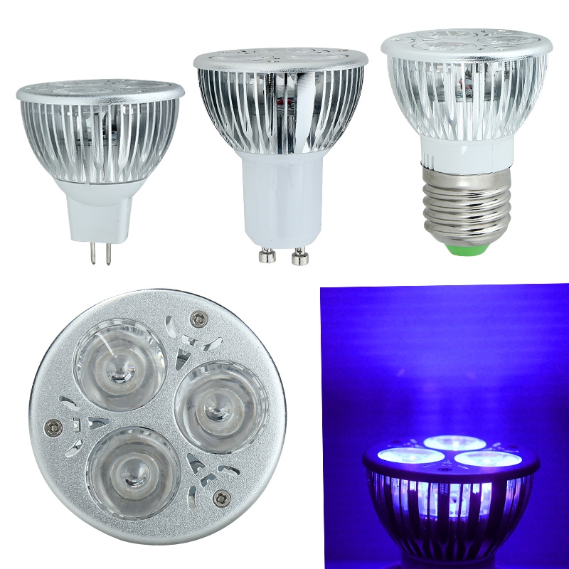 High Quality 3W E27/GU10/MR16 <font><b>UV</b></font> Ultraviolet Purple Light <font><b>LED</b></font> Bulb Lamp 85-265V/<font><b>12V</b></font> For Home Bedroom Kitchen Energy efficient image