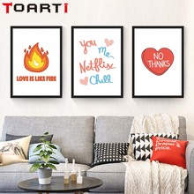 Nordic Modern Life motto Quote Love Is Like Fire No Thanks Canvas Poster Art Painting Wall pictures For Living Room Home Decor love under fire