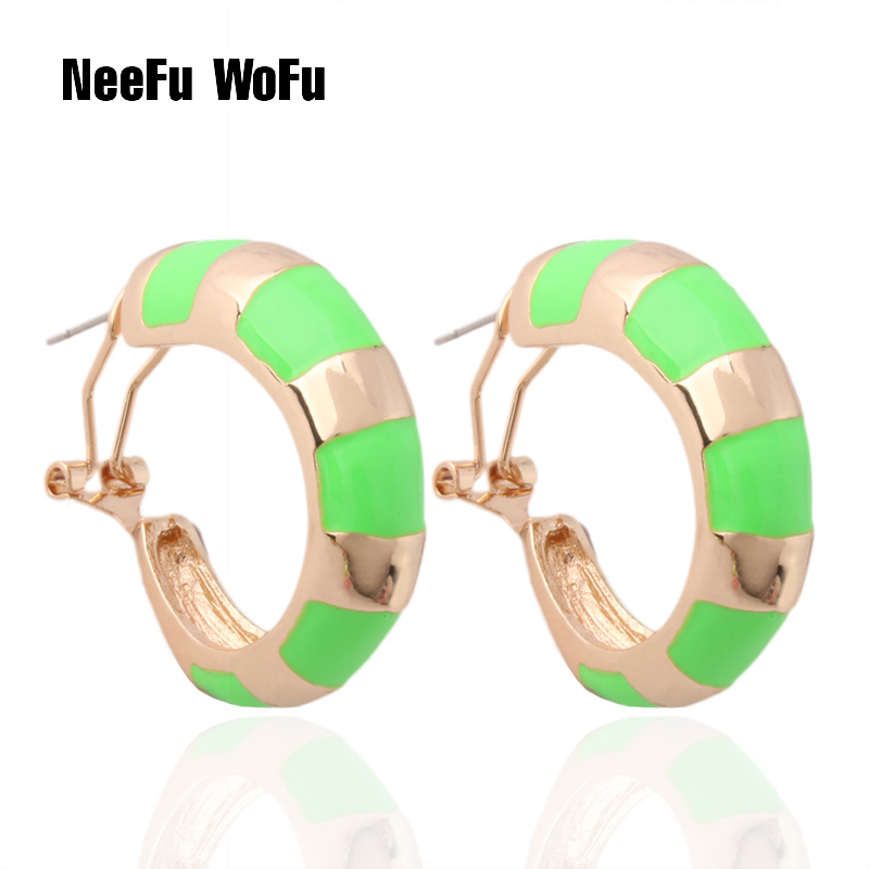 NeeFu WoFu Fluorescent green Earring ring wholesale Printed Colorful snake Large Brinco Printing Oorbellen jewelry