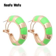 NeeFu WoFu Fluorescent green Earring ring wholesale Printed Colorful snake Large Brinco Printing Oorbellen jewelry цена в Москве и Питере