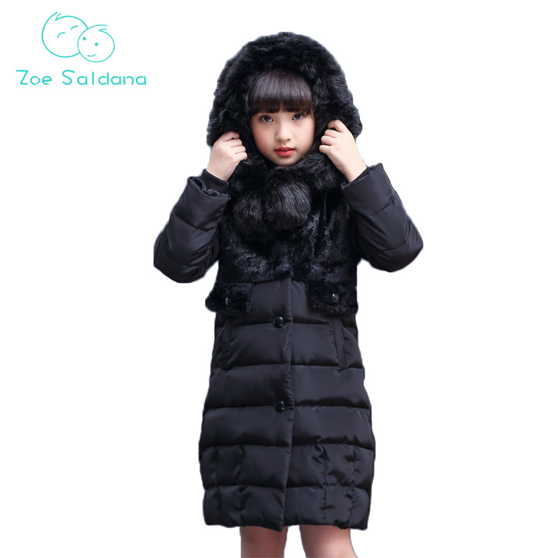 Zoe Saldana Girl's Coat 2017 New Winter Kids White Duck Down Thick Casual Solid Hooded Parkas Warm Fur Collar Waterproof Coats zoe saldana girl s coat 2017 new fashion winter solid hooded long white duck down casual kids warm detachable fur collar coats