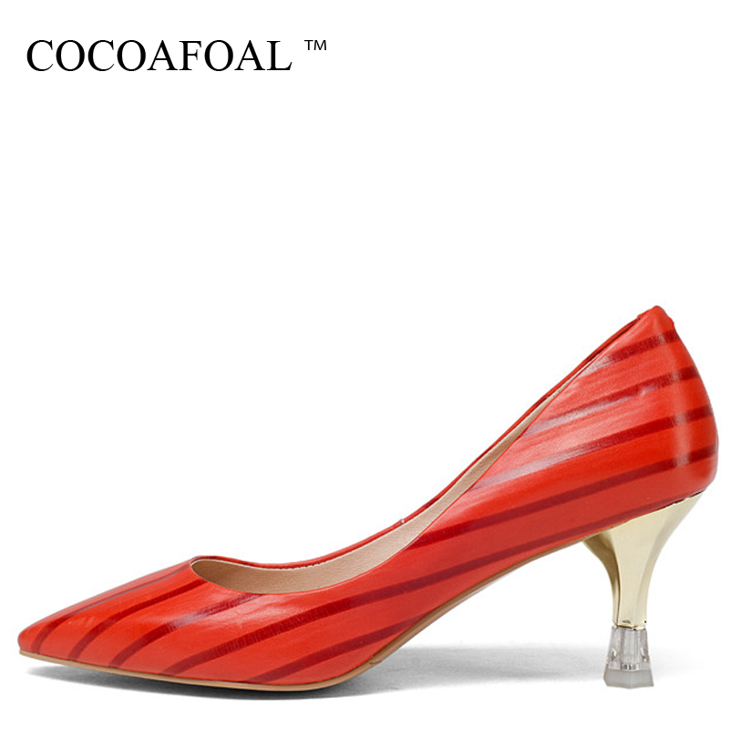 COCOAFOAL Woman Green High Heels Shoes Plus Size 33 - 43 Sexy Stiletto Red Wedding Shoes Genuine Leather Pointed Toe Pumps 2018 цена