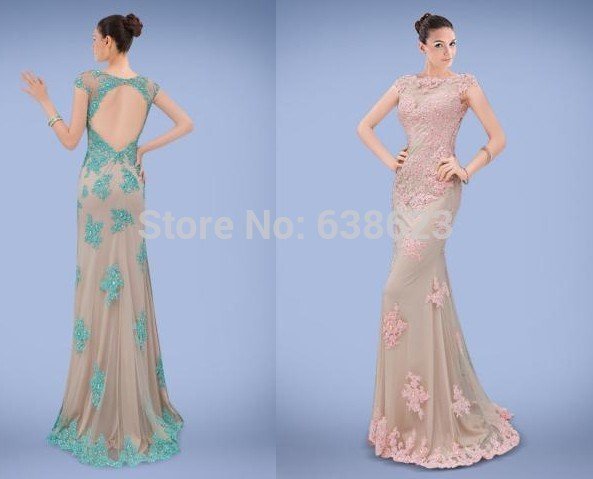 DAE836 Free Shipping 2016 High Quality Champagne And Light Green Appliques  Beaded Backless On Line Evening Gown-in Evening Dresses from Weddings    Events on ... 6f37eff6e1ab