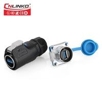 Conector impermeável da transmissão rápida ip65/ip67 da relação do conector de cnlinko m24 usb3.0 com conector industrial do usb do cabo de 0.5m Male Plug Female Socket LED Light Adapter