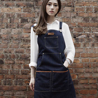 High end cowboy apron barista baking beauty nail painting floral tattoos overalls work aprons