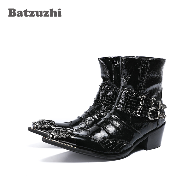 Batzuzhzi 6.5cm Height Increased Men Boots Metal Pointed Toe Leather Botas Hombre with Buckles Punk Rock Motocycle Short BootsBatzuzhzi 6.5cm Height Increased Men Boots Metal Pointed Toe Leather Botas Hombre with Buckles Punk Rock Motocycle Short Boots