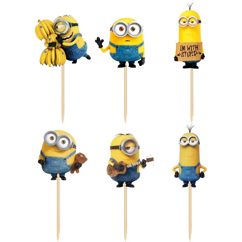 24pcs/lot Minions Theme Party cupcake toppers picks baby shower Birthday Spiderman wedding Party Decoration Kids Supplies