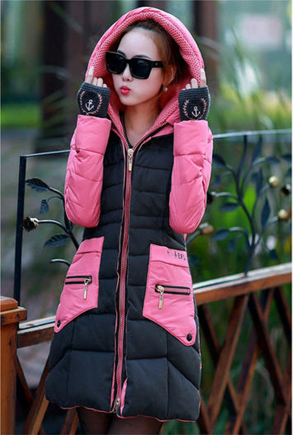 2014 New Winter Long Thick Padded Wool Stitching Jacket Women Zipper Hooded Patchwork Down Coat With Knit Gloves 3XL H2933