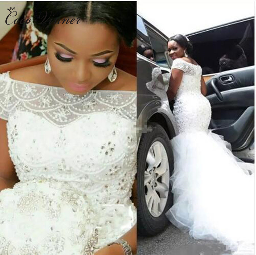 African New Fashion Mermaid Wedding Dress 2020 Cap Short Sleeve Crystal Beading Court Train Lace Up Vintage Wedding Gown W0361