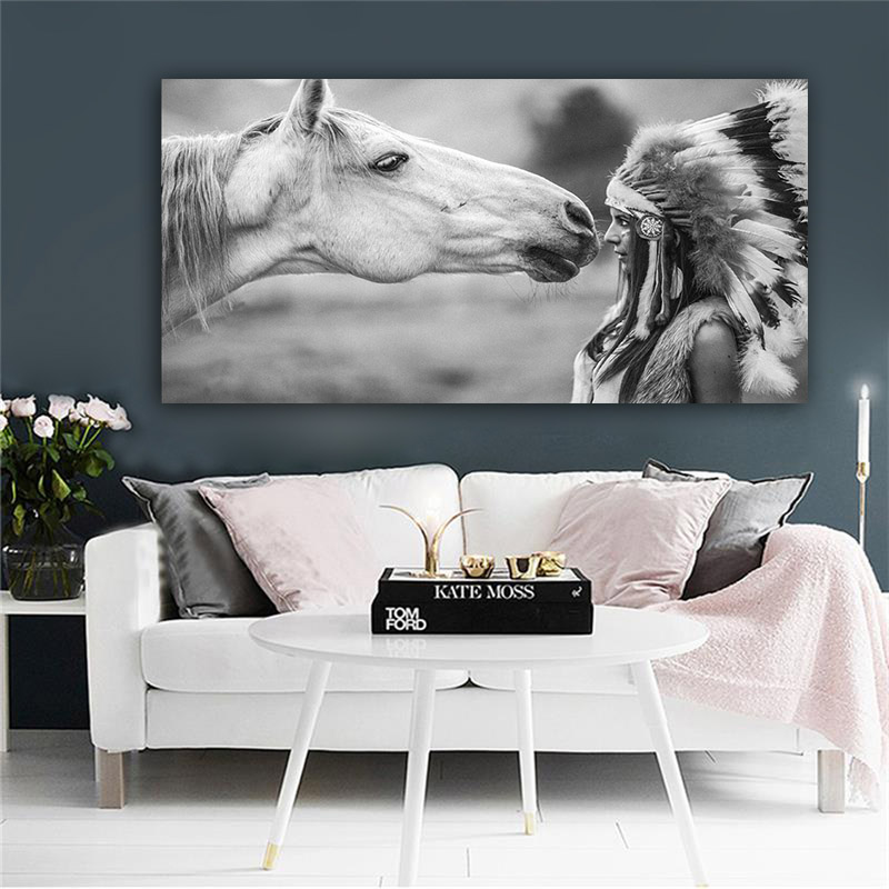 Native Indian with Horse Portrait Canvas Art Scandinavian Poster Print Wall Picture for Living Room Black and White(China)