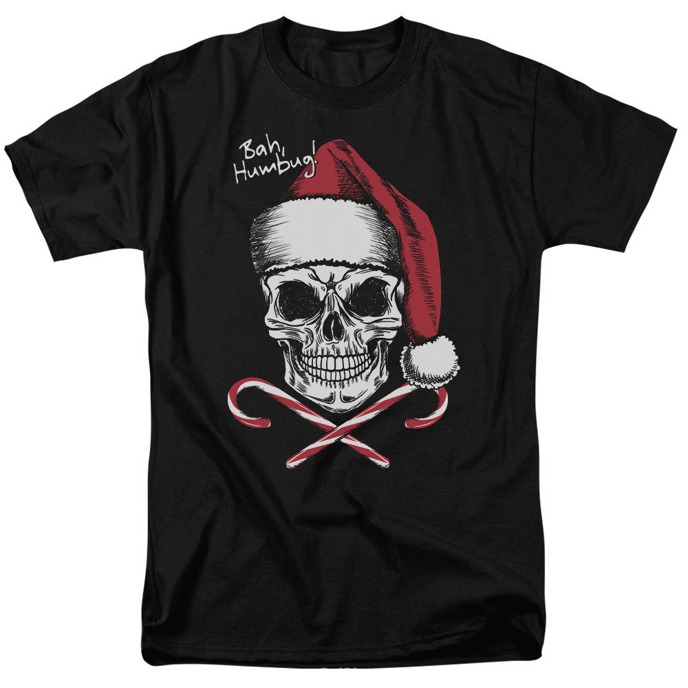SKULL with Santa Hat BAH HUMBUG! Humorous Adult T-Shirt All Sizes