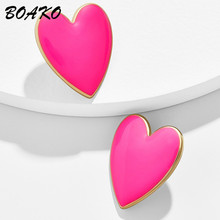 Fashion Heart Earrings Korean Pink Love Stud for Women Personality Punk Jewelry Exaggerated Big Brincos