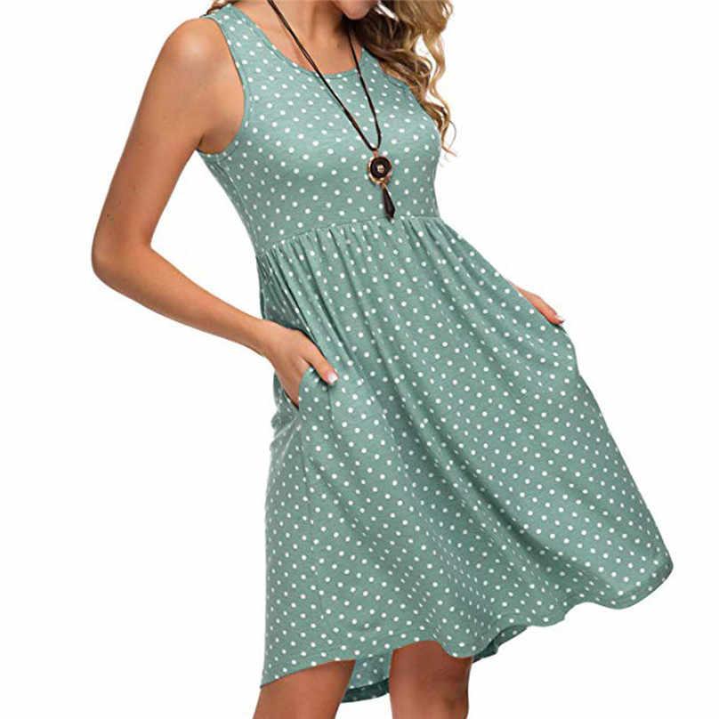 Летнее пляжное платье в горошек без рукавов с круглым вырезом, платья для женщин размера плюс 4xl 5xl sukienka letnia #15