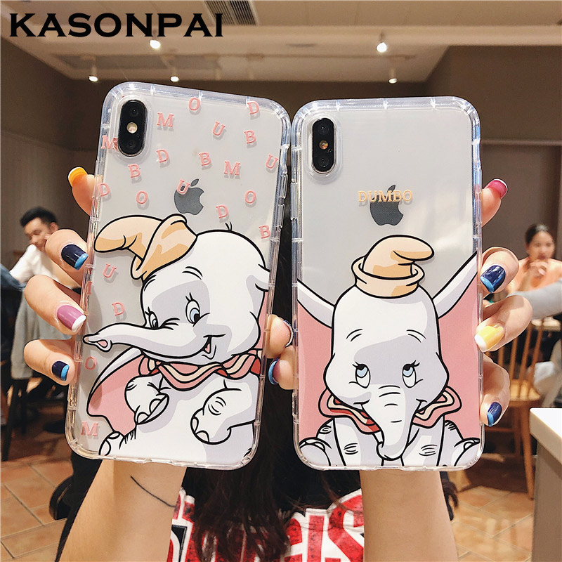 New Fashion Cartoon Bling Moon Dumbo Elephant Dynamic Liquid Glitter Cover For Iphone X Xr Xs Max Soft Tpu For Iphone 8 7 6 6s Plus Case Cellphones & Telecommunications