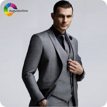 Grey Mens Classic Suits Formal Business Man Blazers Groom Wedding Tuxedos Slim Fit Terno Masculino Costume Homme Groomsmen Suit