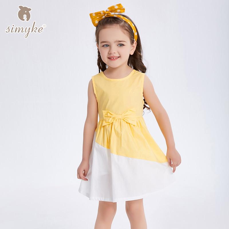 Simyke Girls Summer Dress 2018 New Kids Sleeveless Yellow For Girl Toddler Costume Children's Clothing Cloth J8522