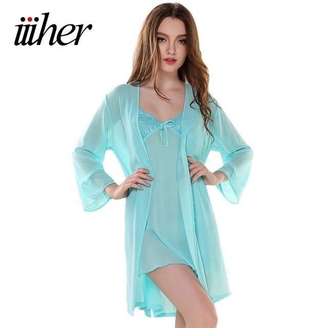 iiiher Gauze Bathrobes Female Sleepwear Embroidery Long-Sleeved Lace  Nightgowns Twinset Imitation Silk Robe Sets 71d6d7ffd